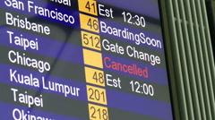 Airport departures board, information board Stock Footage