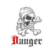 Pirate skull with crossed bones Stock Illustration