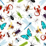 Colorful insect animals seamless pattern Stock Illustration