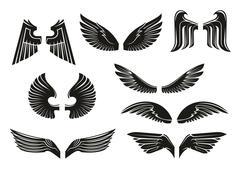 Black tribal heraldic wings set - stock illustration