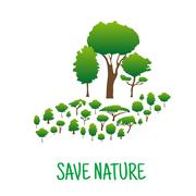 Hand made of green trees. Save nature concept Stock Illustration