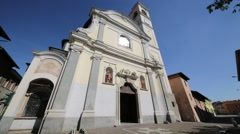 Italy vanzaghello ancient religion building for catholic and clock tower. Stock Footage