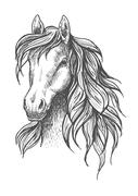 Young horse head sketch with wavy mane - stock illustration
