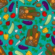 Vegetable salad preparation seamless pattern Stock Illustration