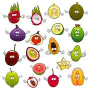 Tropical fruits with smiling and happy faces - stock illustration