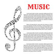 Music infographic template with treble clef Stock Illustration