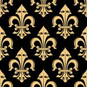 Tracery of fleur-de-lis elements seamless pattern Stock Illustration