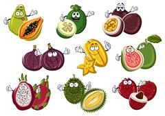 Smiling and happy cartoon fruits with hands - stock illustration