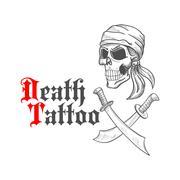 Pirate skull in bandana sketch and crossed swords Stock Illustration