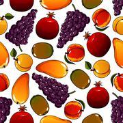 Vegetarian fruits seamless pattern isolated on white Stock Illustration