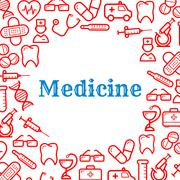 Icons of equipment for medicine and healthcare - stock illustration