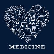 Icons of healthcare or medicine equipment as heart - stock illustration