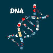 DNA formed of healthcare or medicine icons - stock illustration