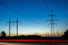 Power Line. pylon against a blue sky. Stock Photos