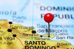 Samana pinned on a map of Dominican Republic Kuvituskuvat