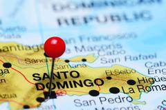 Santo Domingo pinned on a map of Dominican Republic Stock Photos