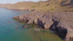 Aerial nature landscape picturesque mediterranean sea coast Spain. Stock Footage