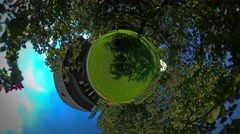 Little Tiny Planet 360 Degree Green Lawn Rustic Houses in the Beautiful Village Stock Footage