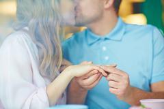 Kiss after proposal Stock Photos