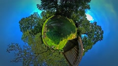 Little Tiny Planet 360 Degree View on Backyard of Rustic Houses in the Stock Footage