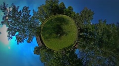Little Tiny Planet 360 Degree View on the Garden Rustic Houses in the Beautiful Stock Footage