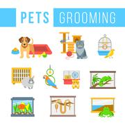Animals pets grooming flat colorful vector illustrations Stock Illustration