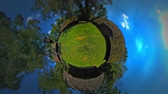 Little Tiny Planet 360 Degree Straw Roofs Rustic Houses Beautiful Village View Stock Footage
