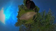 Little Tiny Planet 360 Degree Fence at Fire Road Rustic Houses in the Beautiful Stock Footage