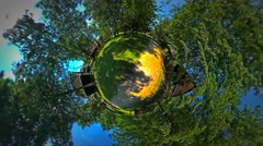 Little Tiny Planet 360 Degree Dirt Road in Beautiful Village Rustic Houses Stock Footage