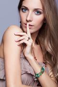 Beautiful woman in jewelry and  bijouterie - stock photo