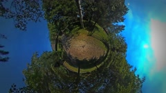 Little Tiny Planet 360 Degree Wooden Fence Barnyard in the Beautiful Village Stock Footage