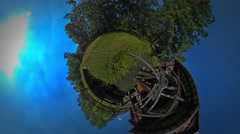 Little Tiny Planet 360 Degree Wooden Bridge Over the Small Lake Beautiful Stock Footage