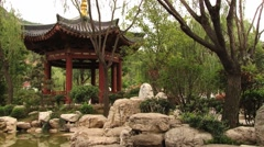 View to the pond at the famous Huaqing hot springs in Xian, China. Stock Footage
