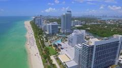 Stock aerial footage beachfront buildings Miami Beach 4k Stock Footage