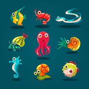 Cute Sea Life Creatures Cartoon Animals Set - stock illustration