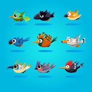 Funny Cartoon Birds, Illustration - stock illustration