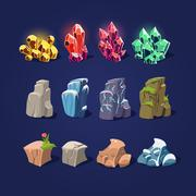 Set of Cartoon Stones and Minerals Stock Illustration