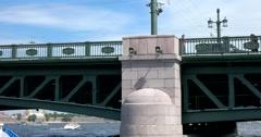 Tour of the canals of Saint Petersburg, Neva river, Palace Bridge Stock Footage