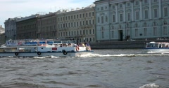 Tour of the canals of Saint Petersburg, Neva river, boats Stock Footage