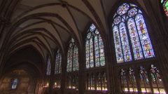 Cathedral tilt shot during Holy Mass Stock Footage
