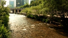 Landscape of the Cheonggye creek, Jongno-gu, Seoul, Korea Stock Footage