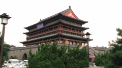 View to the Drum tower in Xian, China. Stock Footage