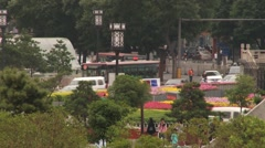View to the traffic at the central square from the Drum tower in Xian, China. Stock Footage