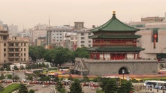 View to the Bell tower and central square from the Drum tower in Xian, China. Stock Footage