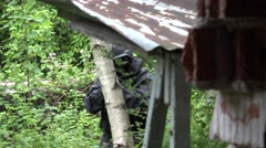 A Special Force Squad walk in a wilderness area. Stock Footage