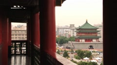View to the city buildings and Bell tower from the Drum tower in Xian, China. Stock Footage