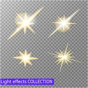 Set of golden glowing lights effects isolated on transparent background. Sun - stock illustration