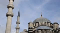 Mosque, background clouds. Istanbul Yeni Camii Stock Footage