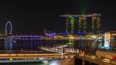 Time-lapse of Marina Bay Singapore at Night as seen from Merlion Park Stock Footage