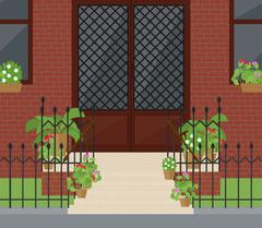 Flat vector illustration of facade doors with stairs - stock illustration